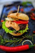Beef burger - grilled beef tenderloin on a bun poster