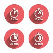 Timer icons. 5, 15, 20 and 30 minutes stopwatch symbols. Pink circles flat buttons with shadow. Vector poster