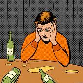 Comic strip man drunk vector illustration. Comic book imitation. Pop art retro style poster