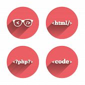 Programmer coder glasses icon. HTML markup language and PHP programming language sign symbols. Pink circles flat buttons with shadow. Vector poster