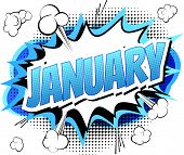 January - Comic book style word on comic book abstract background. poster