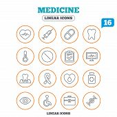 Medicine icons. Syringe, heartbeat and pills symbols. Tooth health, eye and blood donate. Awareness ribbon. Circle buttons on white. Vector poster
