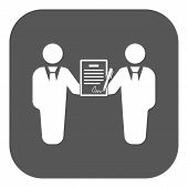 The contract icon. Agreement and signature, pact, partnership, negotiation symbol. Flat Vector illustration. Button poster