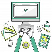 Flat design vector linear illustration concepts workplace of education, online learning, work. Top view. Concepts for web banners and printed materials  with place for text. poster
