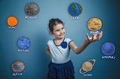 teen girl smiling and holding a news space planet Mars planet of the solar system astronomy poster