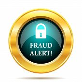 Fraud alert icon. Internet button on white background. poster