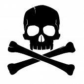 Black skull and crossbones on white bakground (isolated) poster