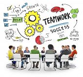 Teamwork Team Together Collaboration Meeting Working Office Concept poster