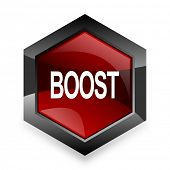 boost red hexagon 3d modern design icon on white background  poster