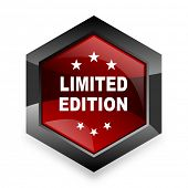 limited edition red hexagon 3d modern design icon on white background  poster