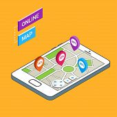3D Smartphone with city map. Modern infographic template. Online map mobile navigation app. Isometric vector illustration. poster