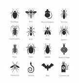 Vector black and white icon set of different insects like flies, cockroaches, bed bugs, spiders, buds, mosquitos and termites for pest control companies poster