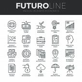 Modern thin line icons set of business economic development financial growth. Premium quality outline symbol collection. Simple mono linear pictogram pack. Stroke vector logo concept for web graphics. poster