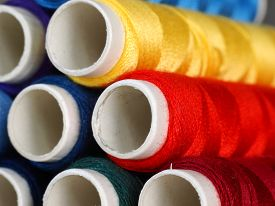 Colourful cotton reels