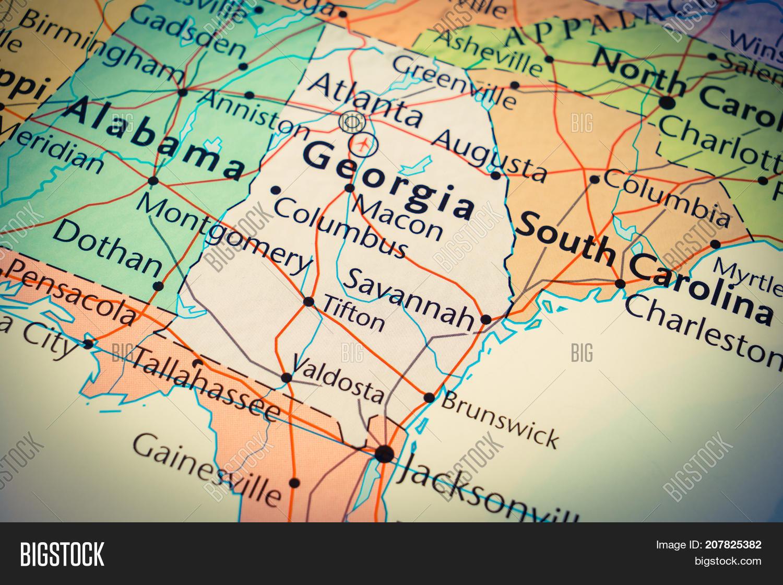 Map Of State Of Georgia Usa.State Georgia On Map Image Photo Free Trial Bigstock