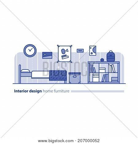 Teenage bedroom interior design, home furniture, minimalism modern concept, bed room furniture with bookcase, box and posters on wall, vector illustration