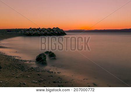 Croatian sunset over Adriatic Sea - Podgora, Croatia