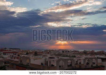 Dawn. Dawn on the Mediterranean sea. Estepona city, Andalusia, Spain.