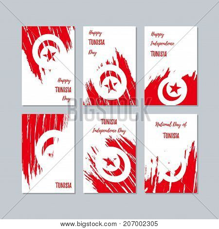 Tunisia Patriotic Cards For National Day. Expressive Brush Stroke In National Flag Colors On White C