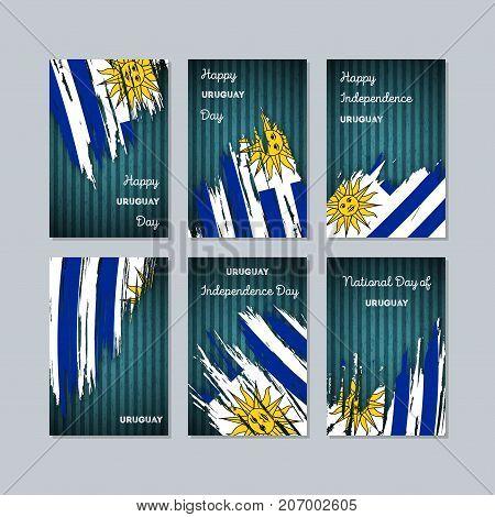 Uruguay Patriotic Cards For National Day. Expressive Brush Stroke In National Flag Colors On Dark St