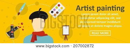 Artist painting banner horizontal concept. Flat illustration of artist painting banner horizontal vector concept for web design