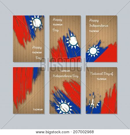 Taiwan Patriotic Cards For National Day. Expressive Brush Stroke In National Flag Colors On Kraft Pa