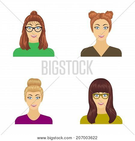 The face of a girl with glasses, a woman with a hairdo. Face and appearance set collection icons in cartoon style vector symbol stock illustration .