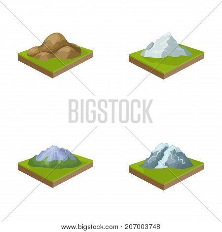 Mountains, rocks and landscape. Relief and mountains set collection icons in cartoon style isometric vector symbol stock illustration .