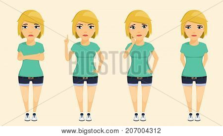 The girl expresses negative emotions. The young blonde. Set. Sadness, crying, anger, uncertainty. In flat style. Cartoon.