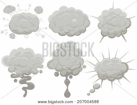 Smoke cloud set Explosion. Dust puff cartoon frame, dusty bubble comic flat style. Vectof