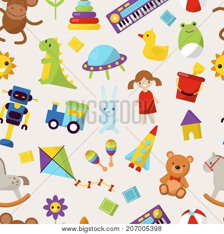 Kid toys vector illustration cartoon cute graphic play childhood gift pattern seamless background childhood. Children colorful many play gift.