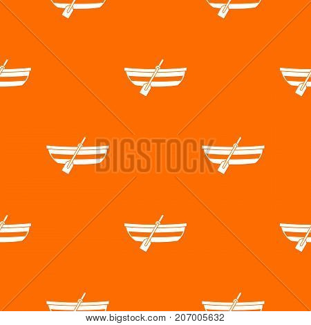 Fishing boat pattern repeat seamless in orange color for any design. Vector geometric illustration
