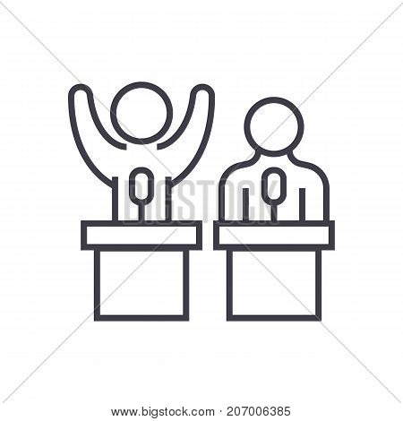 debates, lecture, cogency, persuasion vector line icon, sign, illustration on white background editable strokes
