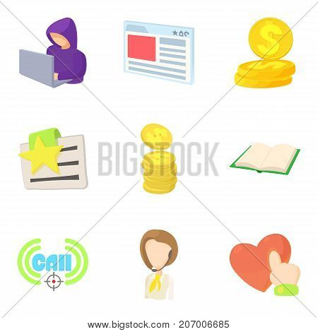 Sale of data icons set. Cartoon set of 9 sale of data vector icons for web isolated on white background