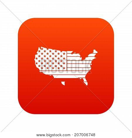 American map icon digital red for any design isolated on white vector illustration