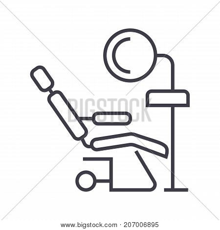 dental clinic, dentist s chair vector line icon, sign, illustration on white background, editable strokes