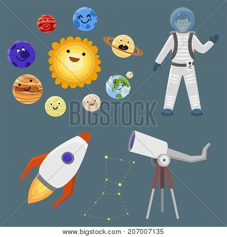 Astronaut in space landing different planets spaceship solar system future exploration space ship cosmonaut rocket shuttle vector illustration. Galaxy atmosphere system fantasy nature spacecraft.