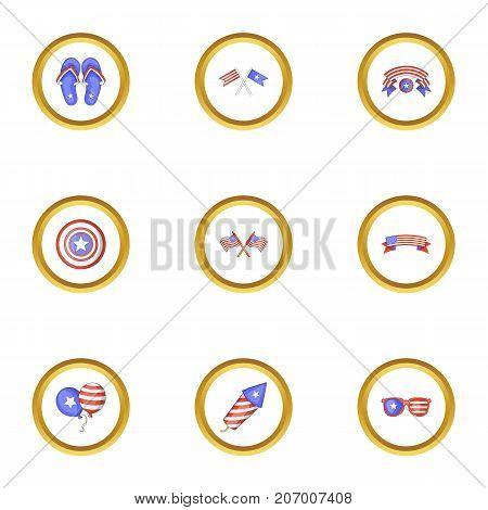 USA patriotic holiday icons set. Cartoon style set of 9 USA patriotic holiday vector icons for web design