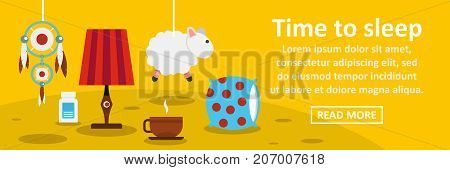 Time to sleep banner horizontal concept. Flat illustration of time to sleep banner horizontal vector concept for web design