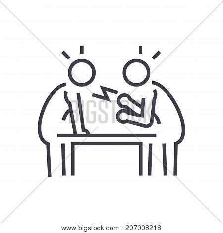 dispute, debate, conversation vector line icon, sign, illustration on white background, editable strokes