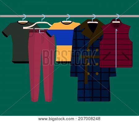 Clothes Racks with Wear on Hangers Set. Flat Design Style. Vector illustration of man wears