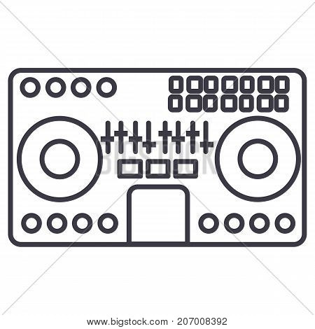 dj mixer, mixing music, party, techno vector line icon, sign, illustration on white background, editable strokes