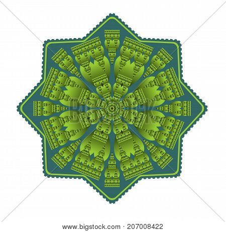 Green mandala for energy and vitality obtaining, circle symmetric embossed patterns in star shape, for meditation and concentration exercises, Vector EPS 10