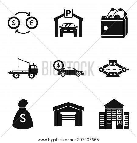 Parking fine icons set. Simple set of 9 parking fine vector icons for web isolated on white background