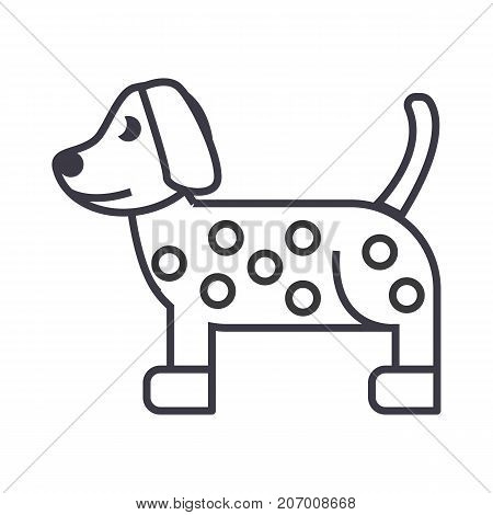 dog, dalmatian vector line icon, sign, illustration on white background, editable strokes
