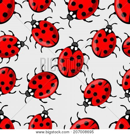 Cute ladybug on white background. Vector ladybird seamless background with cute red beetles with seven dots on his wing case. Beautiful textile design. Vector EPS 10