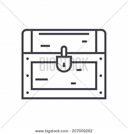 dower chest vector line icon, sign, illustration on white background, editable strokes