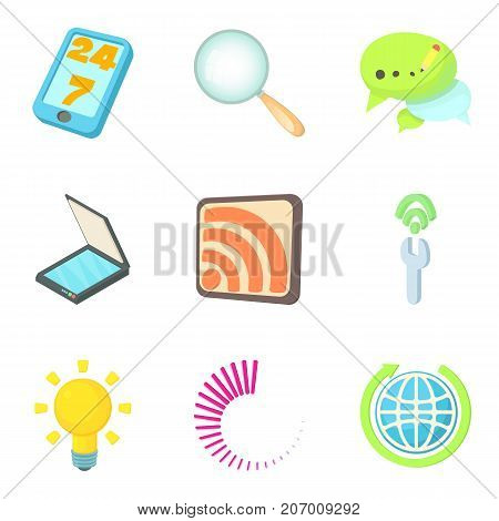 Piece of news icons set. Cartoon set of 9 piece of news vector icons for web isolated on white background
