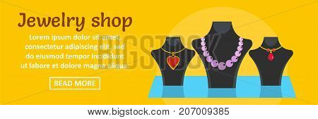 Jewelry shop banner horizontal concept. Flat illustration of jewelry shop banner horizontal vector concept for web design