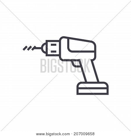 drilling machine vector line icon, sign, illustration on white background, editable strokes